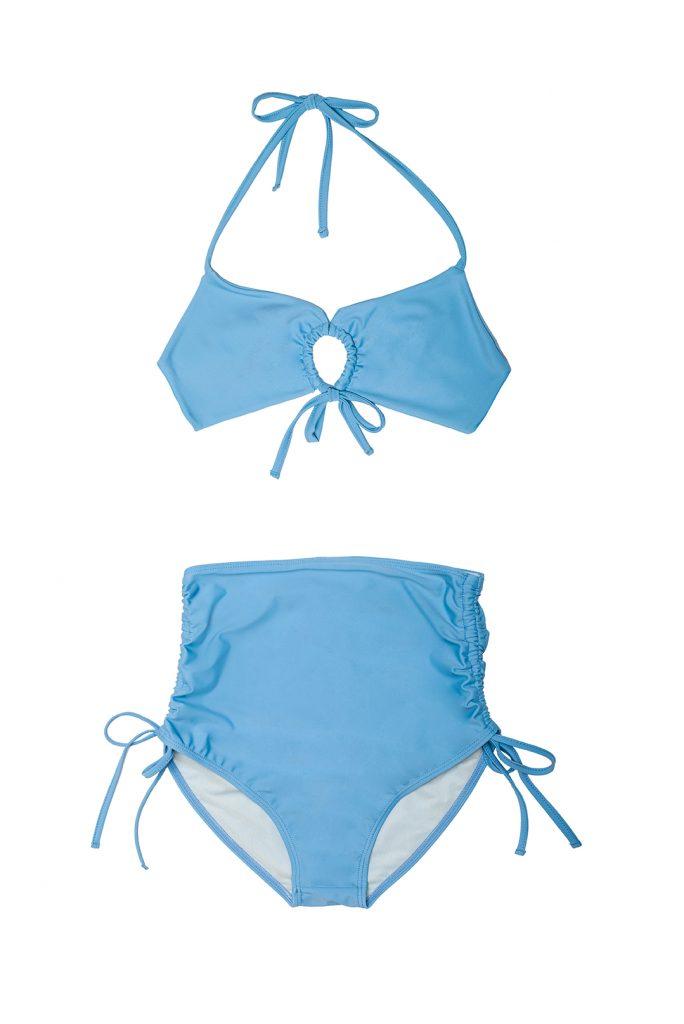 Bikini celeste fruncido anudado braguita alta retro fruncida lazos- ILOVEBELOVE