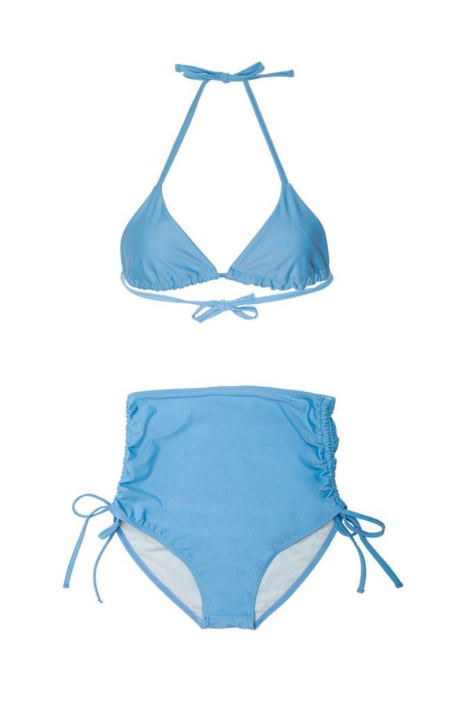 Bikini celeste triángulo braguita alta retro fruncida lazos- ILOVEBELOVE
