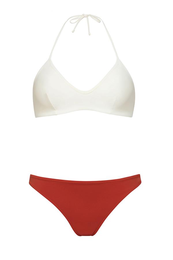 Bikini top marfil anudado - braguita coral - ILOVEBELOVE