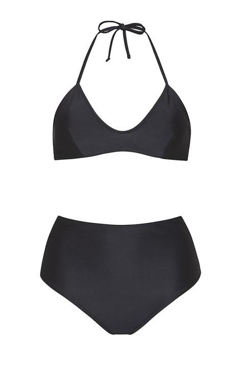 Bikini negro top anudado braguita tiro alto- ILOVEBELOVE