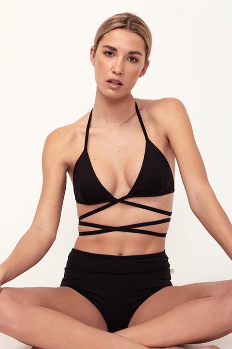 Bikini negro cruzado y reversible - braguita alta - ILOVEBELOVE