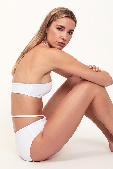 Bikini blanco fruncido braguita alta - ILOVEBELOVE
