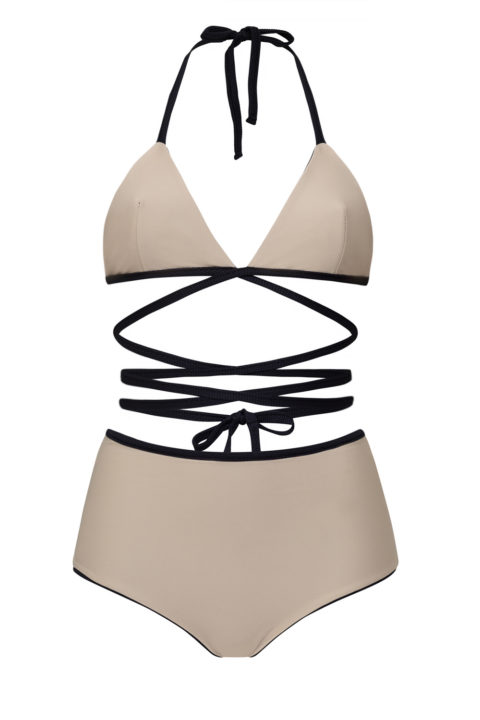 Bikini negro reversible de triángulo cruzado - braguita alta - ILOVEBELOVE