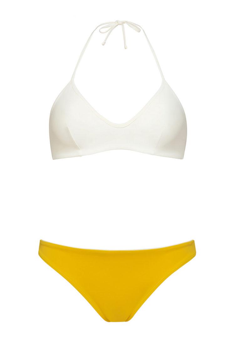 Bikini top marfil anudado - braguita amarilla - ILOVEBELOVE