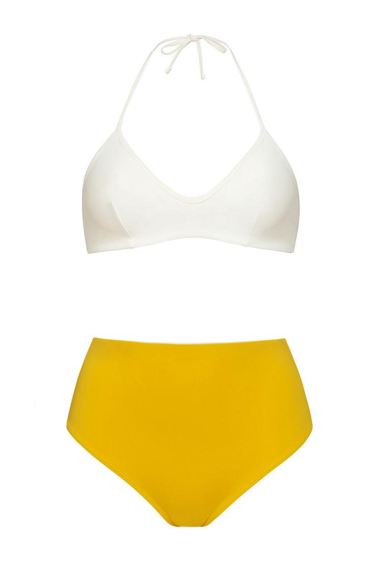 Bikini top marfil anudado - braguita alta amarilla - ILOVEBELOVE