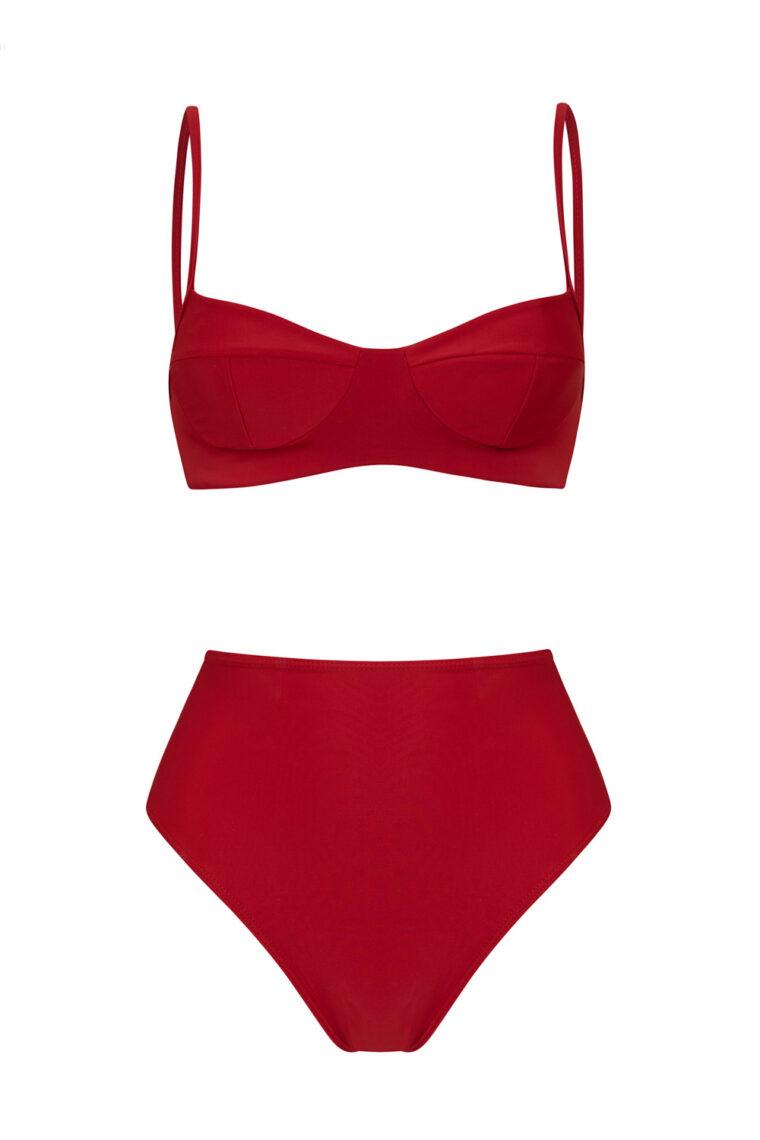 bikini rojo balconette braguita cintura alta