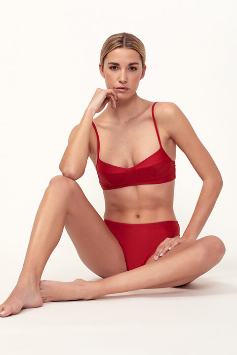 bikini rojo balconette braguita 90